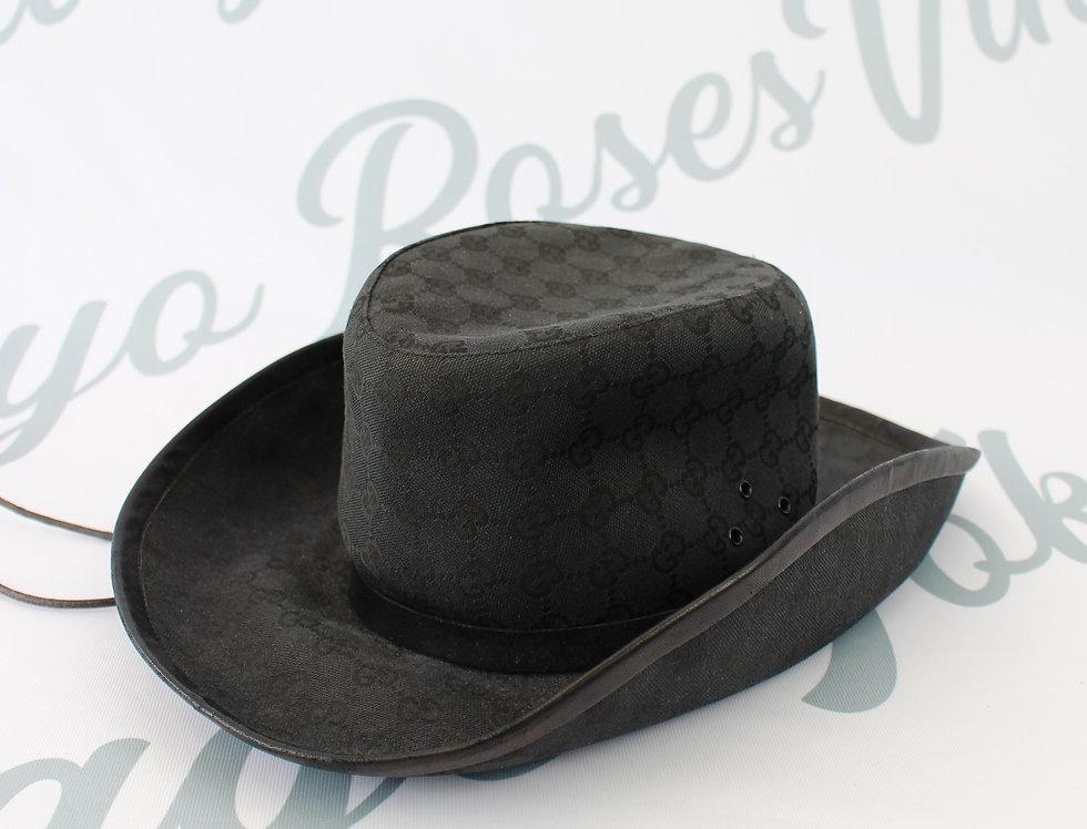Matte Black Gucci Cowboy Hat GG Monogram Canvas Rare