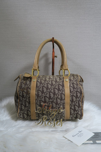 949cc69506 Christian Dior Trotter Monogram Print Boston Bag Brown Oblique Handbag