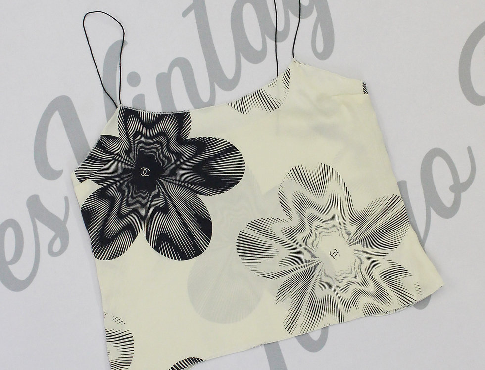 Silk Chanel CC Flower Logo Evening Cami Top