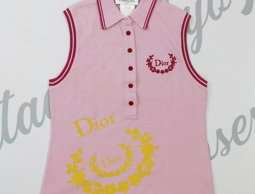 Pink Christian Dior Sleeveless Polo Top Logo Chest