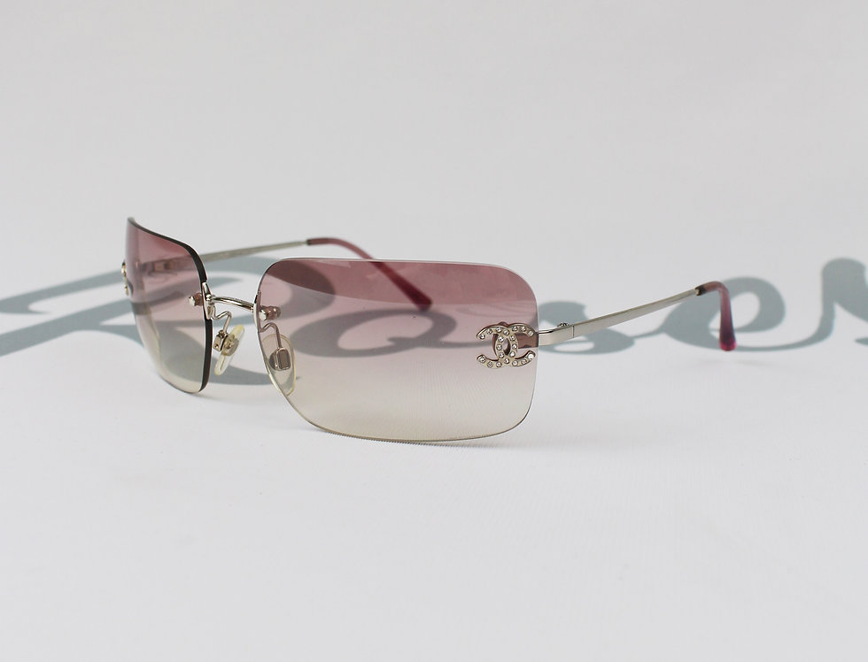 Vintage Chanel Pink Tinted Clear Sunglasses Rhinestone CC Logo Glasses