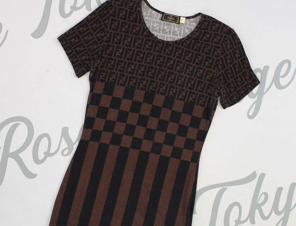 Fendi Print Brown Stretch Top Checkered Pattern