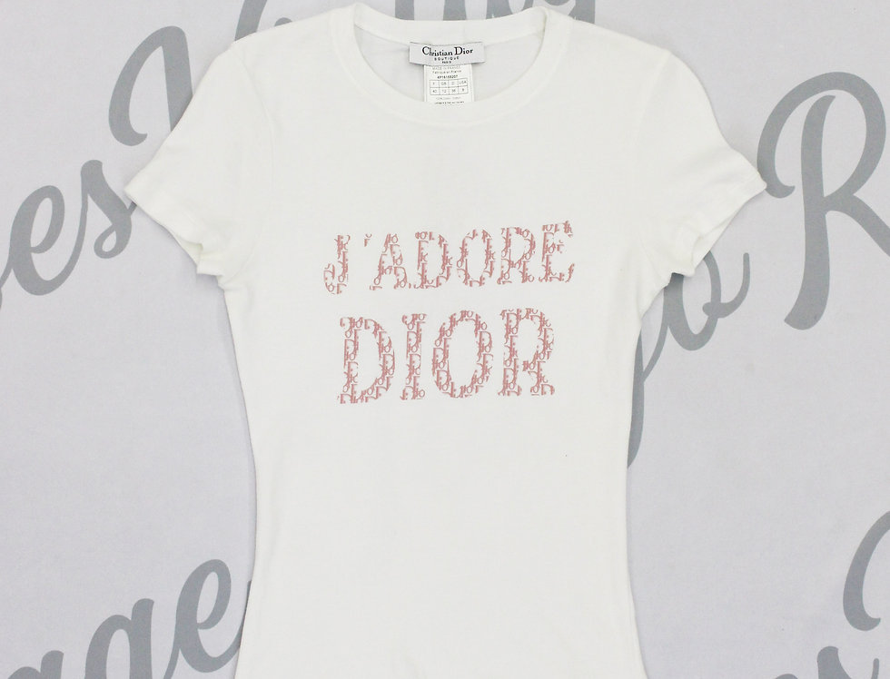 Christian Dior J'adore Dior Logo Print Short Sleeve Shirt Pink White Jadore