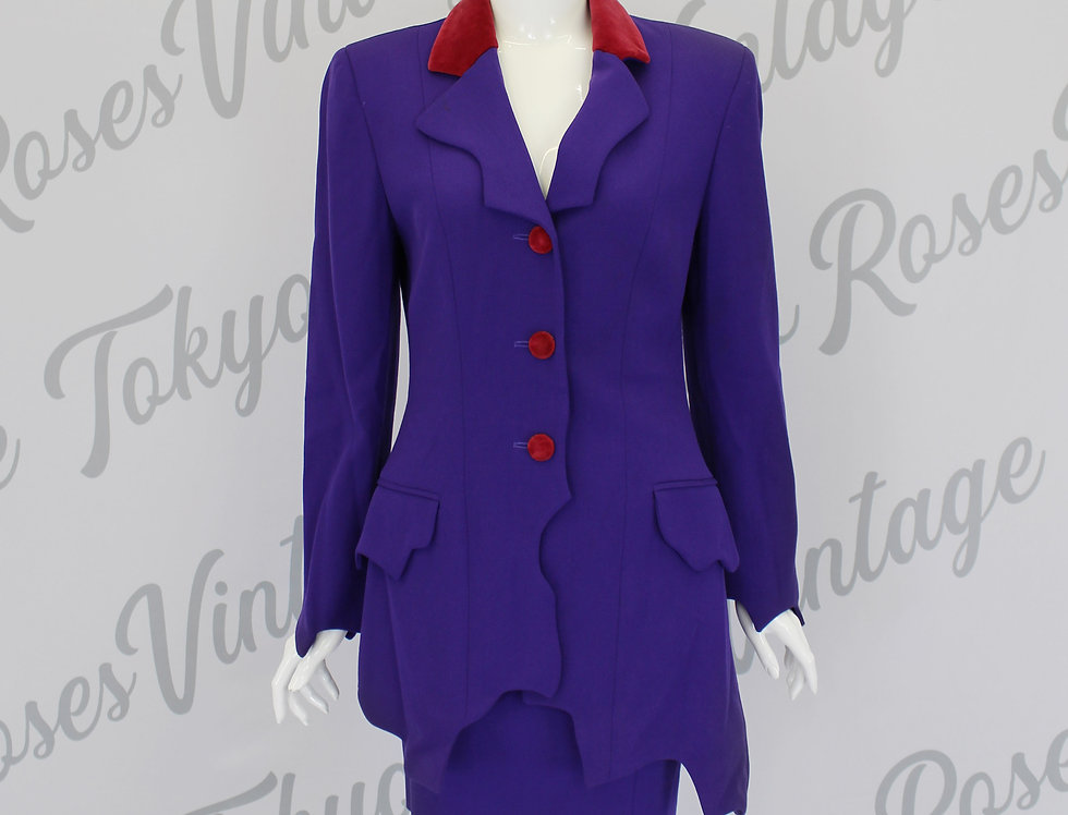 Moschino Abstract Purple Red Skirt Suit