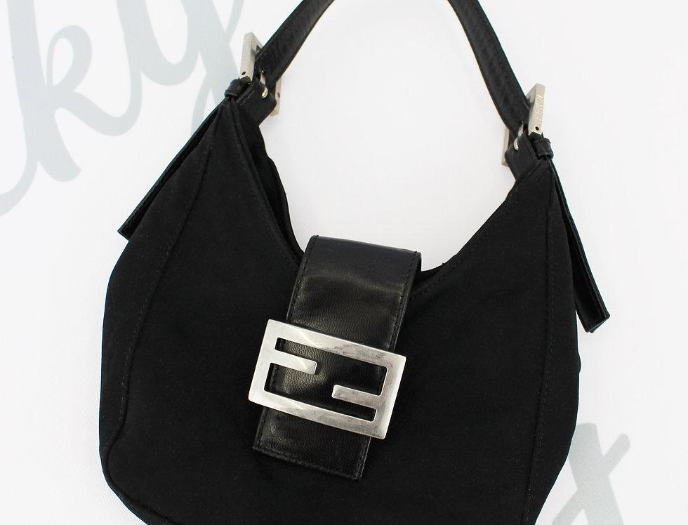 Fendi Croissant Black Soft Handbag
