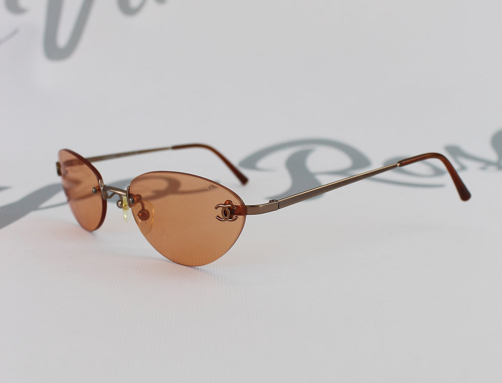 Vintage Chanel Orange Tinted Sunglasses CC Logo Glasses