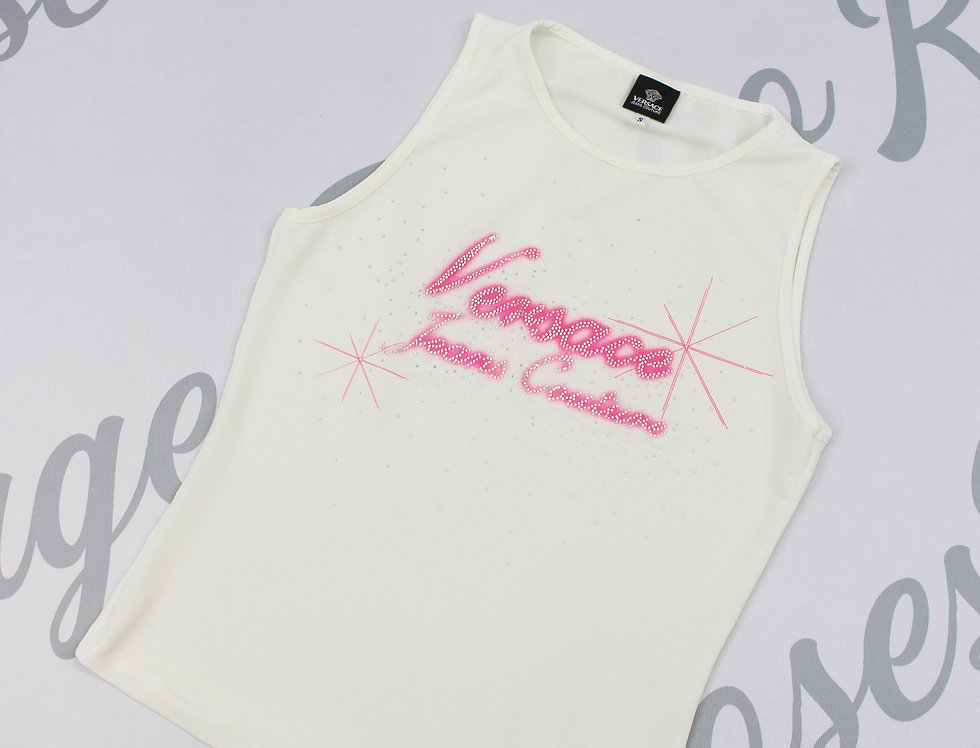 White Versace Jeans Couture Pink Airbrush Tank Top