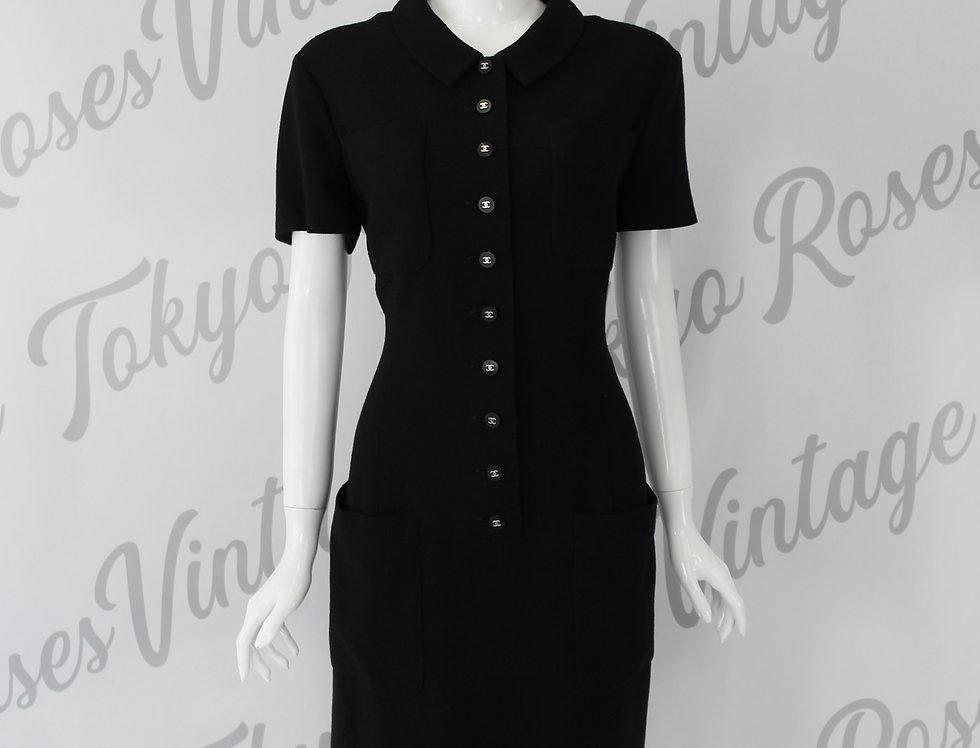 Chanel 1996 Woven Shirt Dress Black CC Buttons