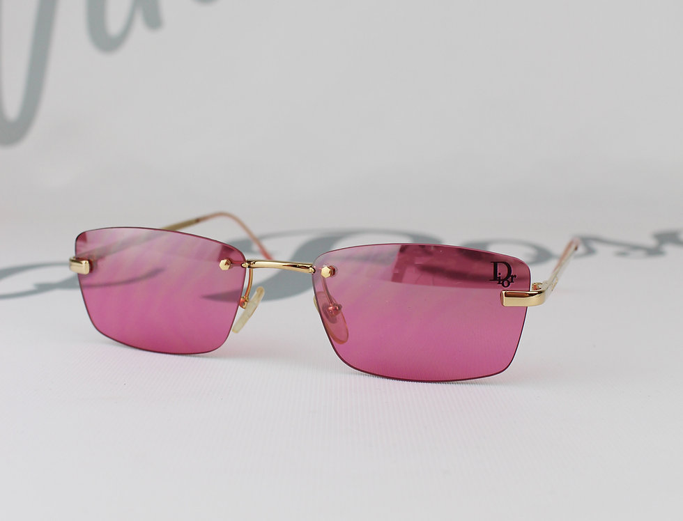 Pink Christian Dior Logo Lens Clear Sunglasses