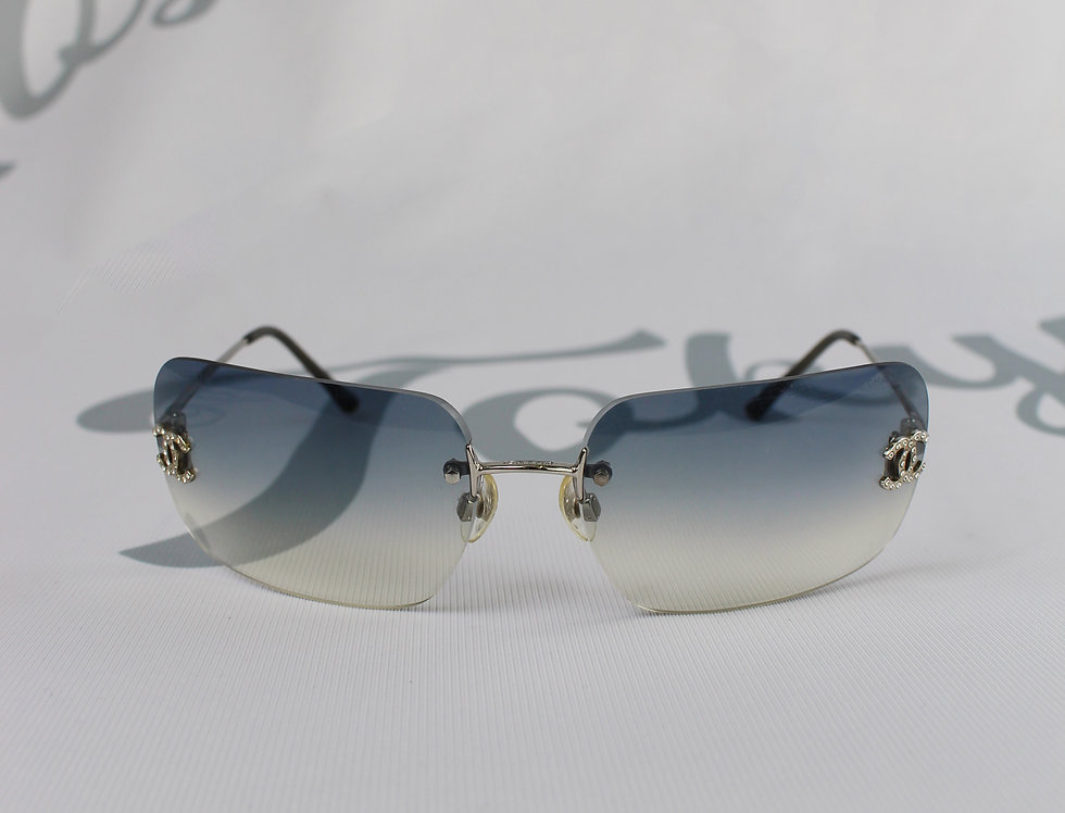 Vintage Chanel Blue Clear Tinted Sunglasses Rhinestone Glasses