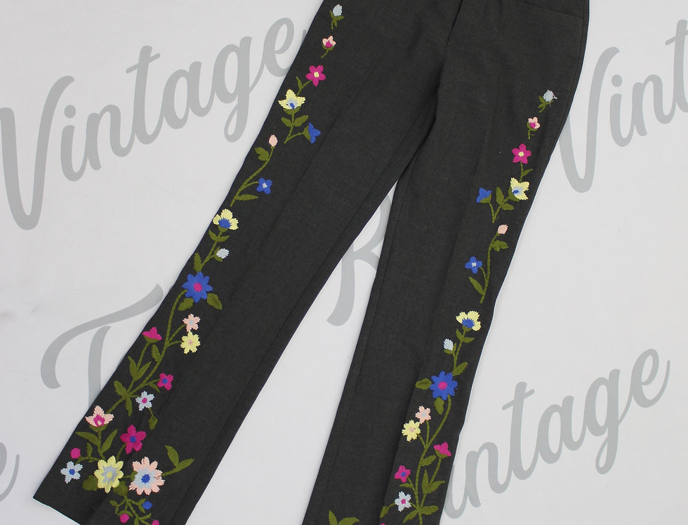 Moschino Flower Power Long Pants Floral Embroidery