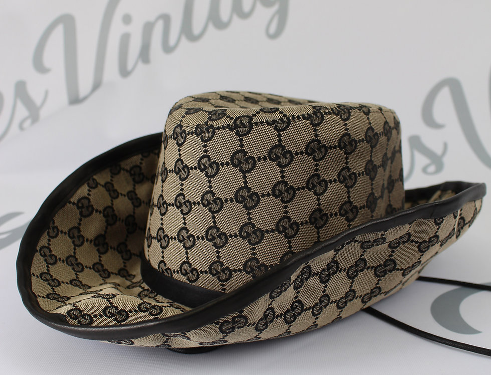 Canvas Gucci Cowboy Hat GG Monogram Rare