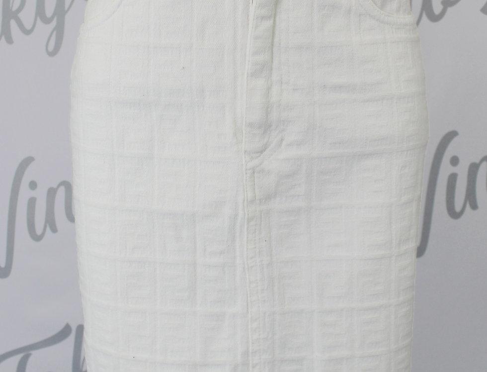 Fendi FF Logo Print Denim Skirt White