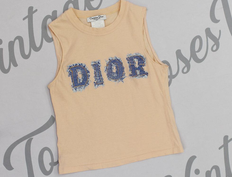 Pink Christian Dior Sleeveless Tank Top Denim Look Logo Bust