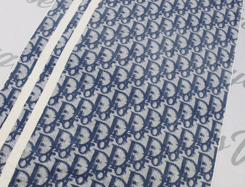 Christian Dior Blue Trotter Logo Monogram Towel XL Jumbo
