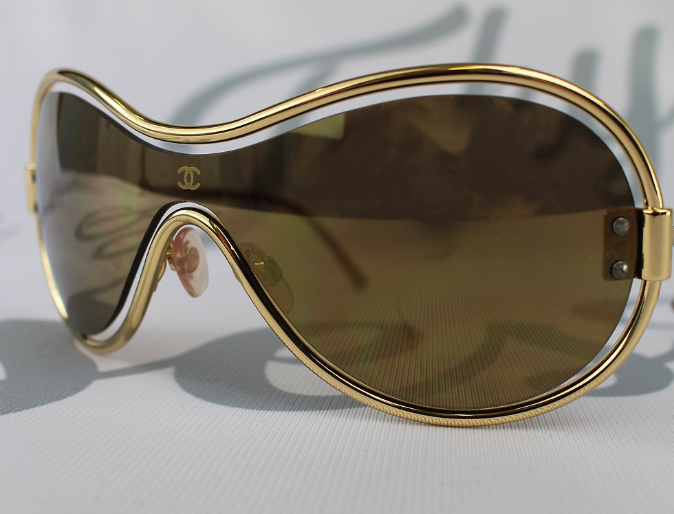 Chanel Gold Floating Frame Shield Glasses