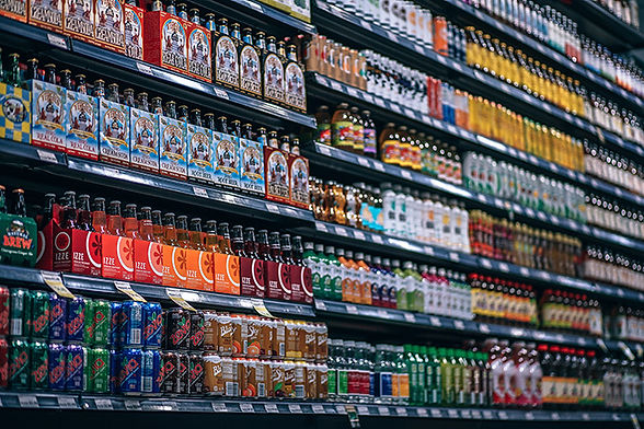 Grocery store aisle with drinks