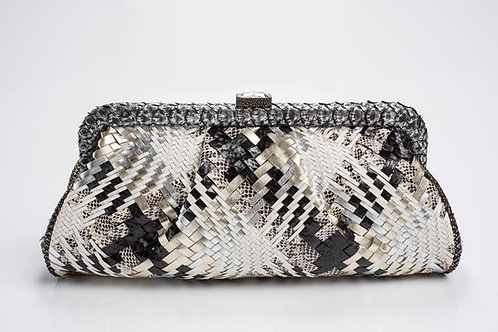 Tina Python Soft Clutch in Woven