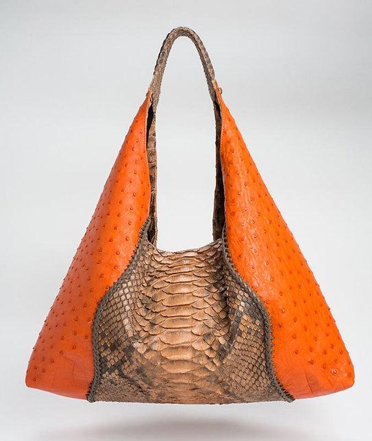 Alexis Ostrich/Python Shoulder Bag in Orange/Terra Cotta