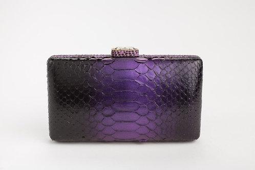 Julia Python Clutch in Black Purple