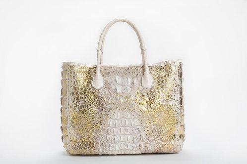 Rebecca Crocodile Hornback Tote in White/Gold