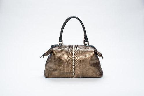 Yolanda Dual Color Python Shoulder Bag in Copper/Metallic Hunter Green