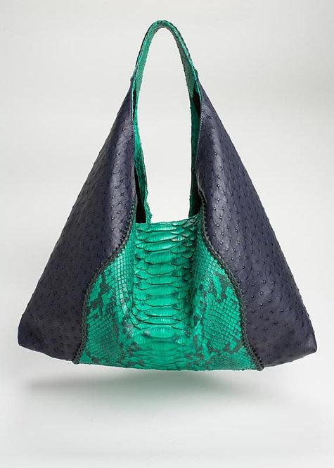 Alexis Ostrich/Python Shoulder Bag in Navy Blue/Green