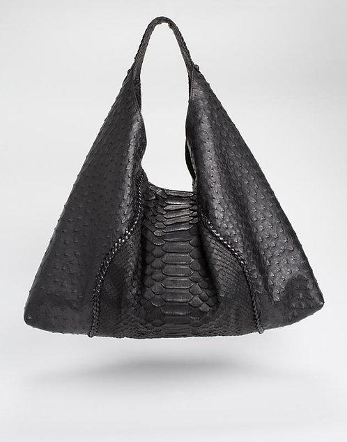 Alexis Ostrich/Python Shoulder Bag in Black