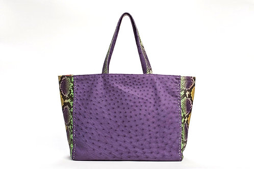 Meredith Ostrich/PythonTote in Purple