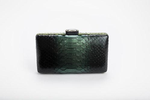 Julia Python Clutch in Black Emerald