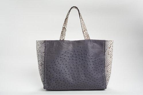 Meredith Ostrich/PythonTote in Grey