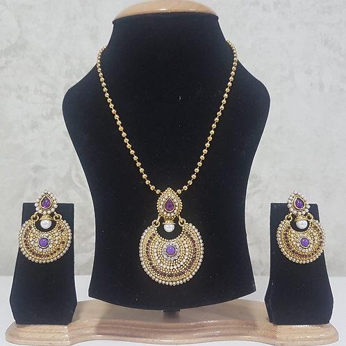 Gold & Purple Pendant Set 0015