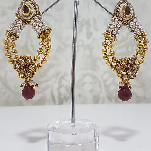 Gold Plated Earrings with Maroon detail 0081
