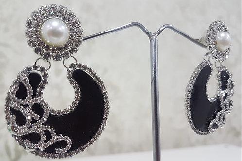 Silver & Black Dimontee Earrings 006