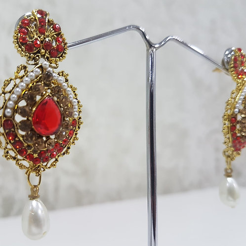 Gold & Red Dimontee Earrings 0123