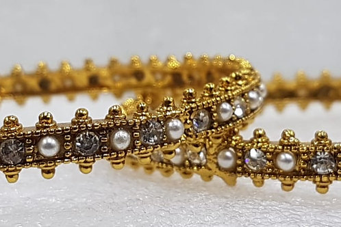 Gold Bangles with Pearl 004