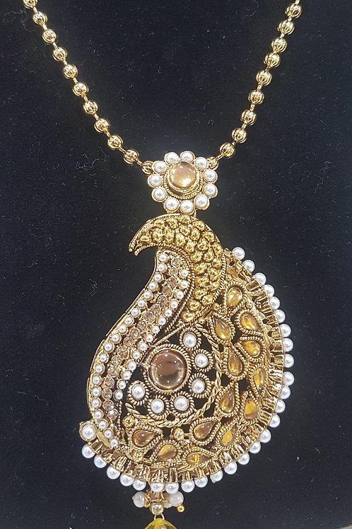 Gold & Pearl Pendant Set 0020