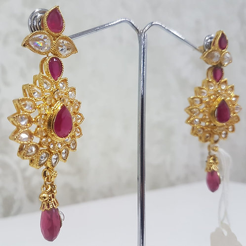 Gold Plated AD Stone Earrings 0015