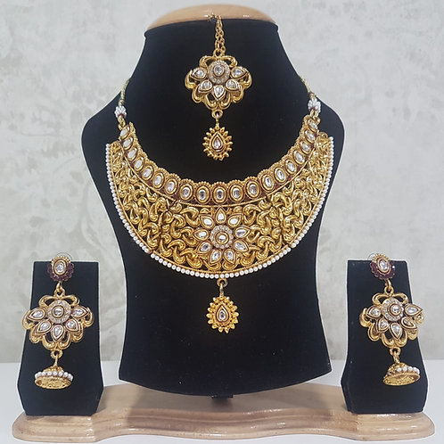 Gold Plated Pearl Necklace Set 0024