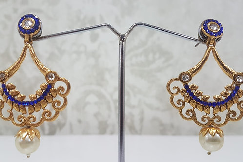 Gold Plated Royal Blue Earrings 0018
