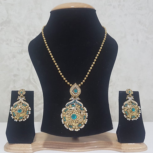 Gold & Teal Pendant Set 0021