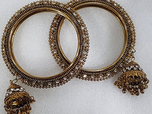 Gold Bangles with Droplet