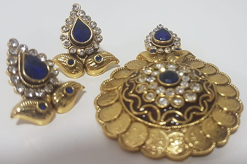 Designer Gold & Royal Blue Pendant 0028