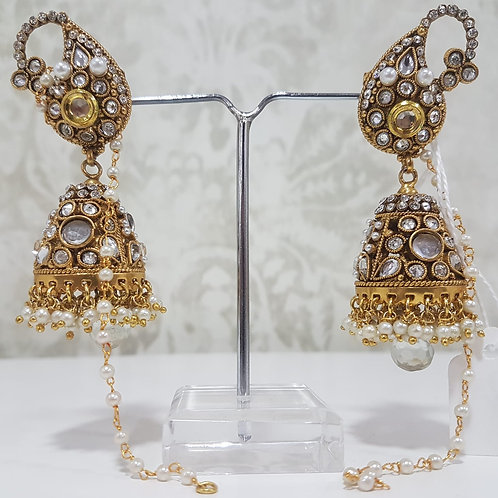 Designer Gold Plated AD Earrings 0107