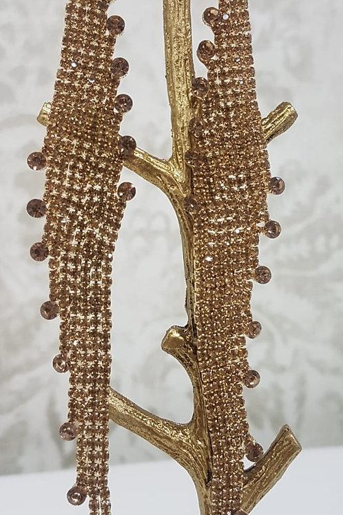 Long Dark Gold Earrings 0082