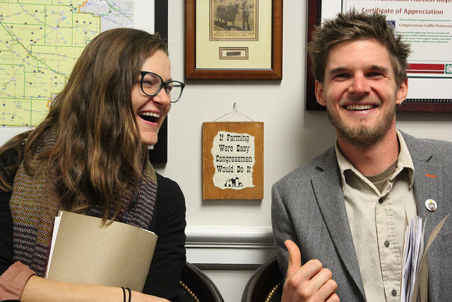 Sam and me, in Colin Petersen's office in November, lobbying for a farm bill that reflects young and beginning farmer needs!