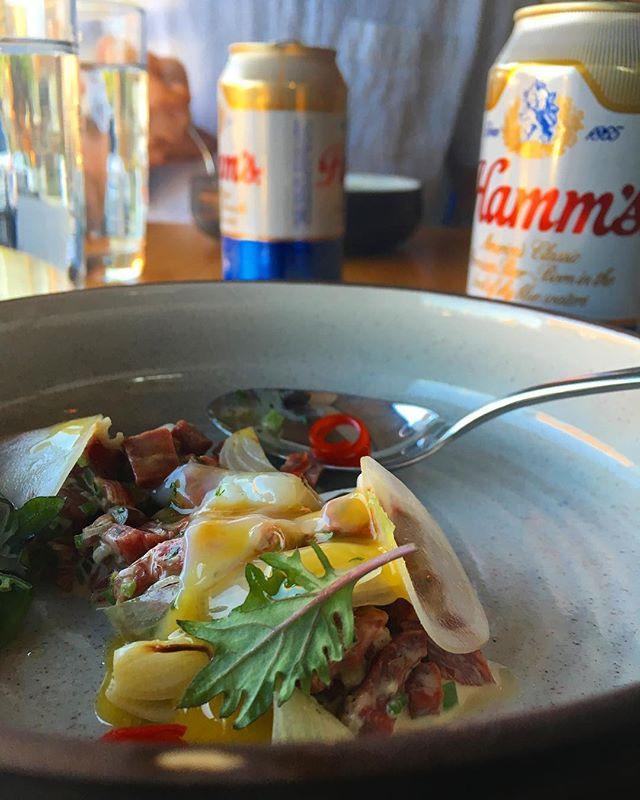 Beef heart tartare + Hamm's