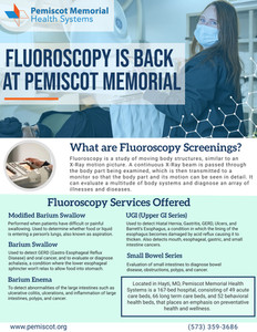 PMHS Once Again Offering Fluoroscopy Services