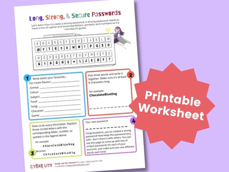 Long, Strong, and Secure Passwords (Printable Worksheet)