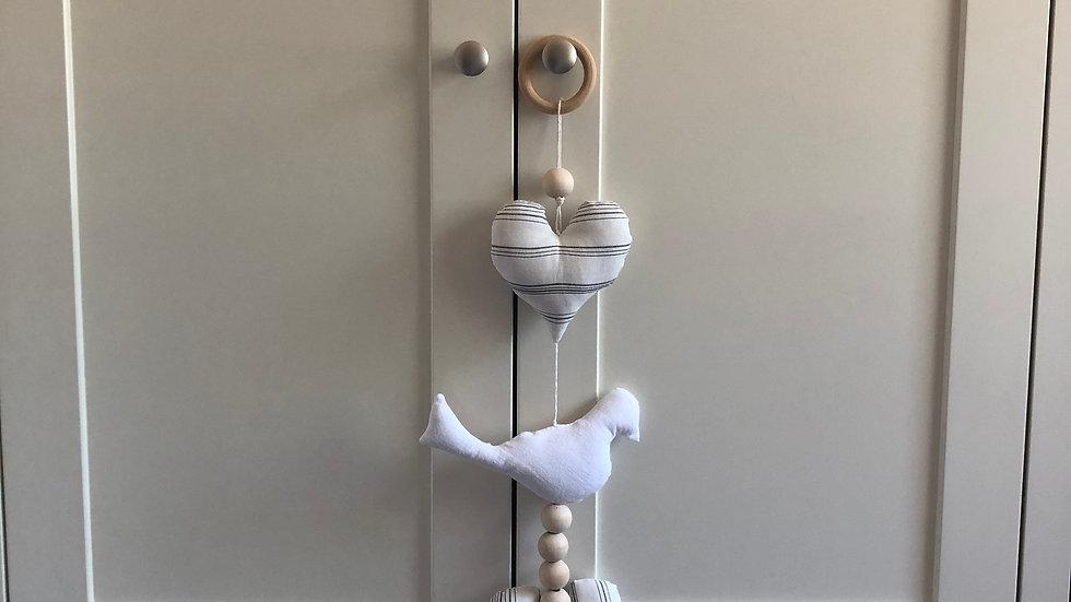 Handmade Heart and Bird Hanger